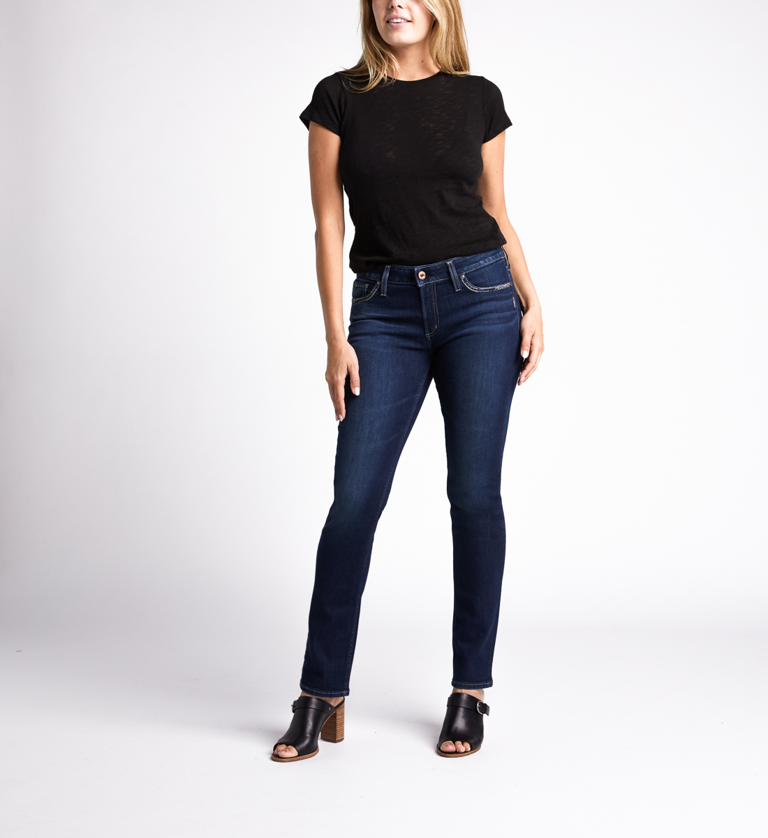 Silver Jeans Elyse Mid Rise Straight Jeans