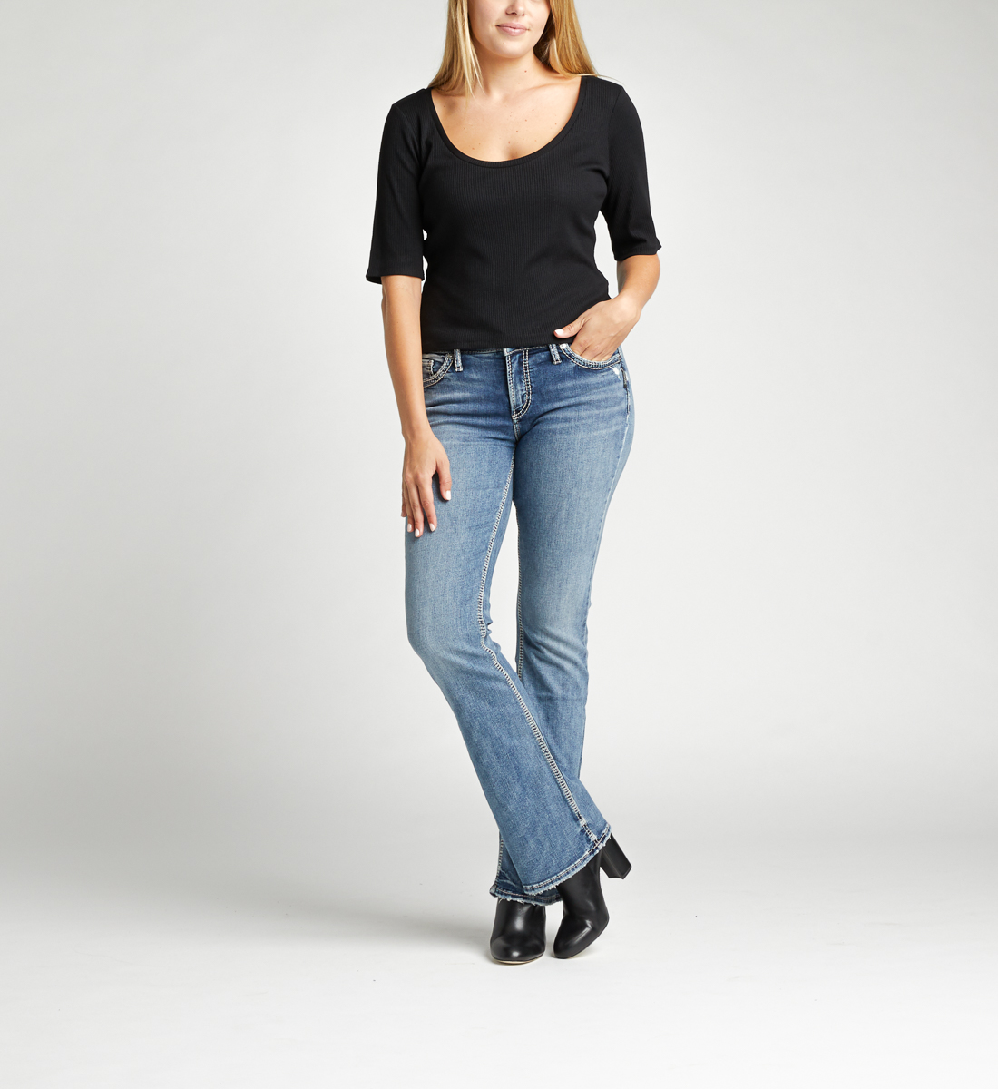 Silver Jeans Elyse Mid Rise Bootcut Jeans