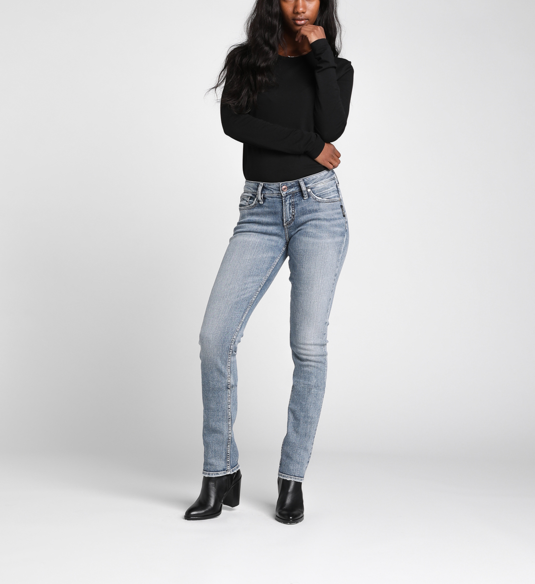 Silver Jeans Suki Mid-Rise Curvy Straight Leg Jeans