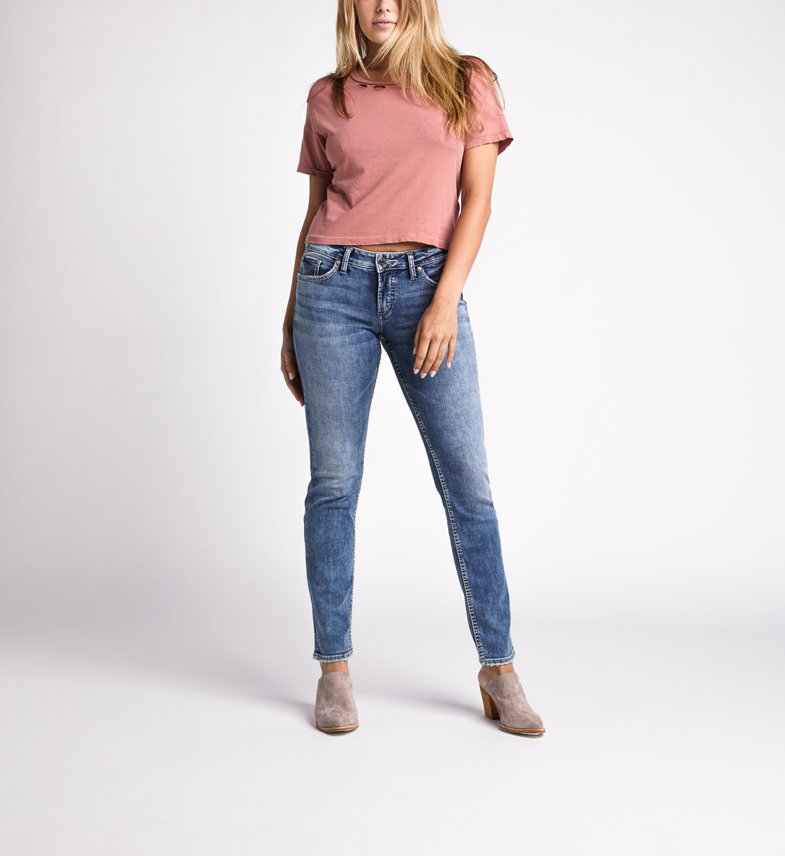 Silver Jeans Suki Mid Rise Straight Jeans