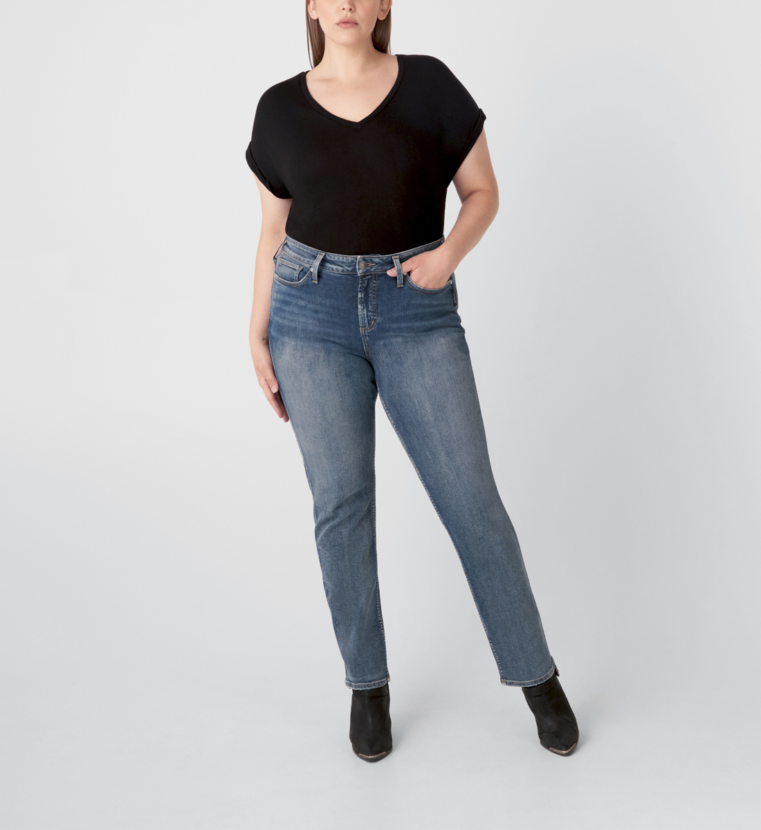 Silver Jeans Avery High Rise Straight Leg Jeans Plus Size - Eco-Friendly Wash