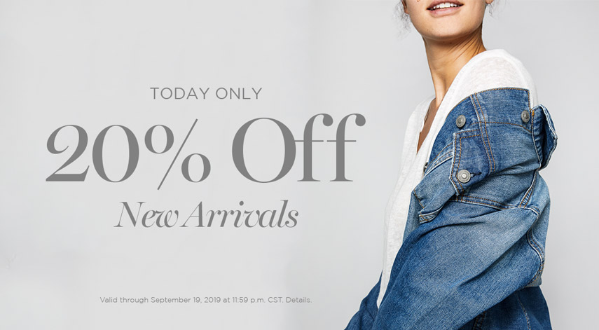 Silver Jeans Co. - Today Only - THE POP-UP SALE - 20% OFF NEW ARRIVALS - Offer valid online only through September 19, 2019 at 11:59 p.m. CST. Not valid with any other offer. Certain exclusions may apply.